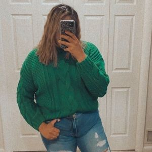 FOREVER21 green cable knit sweater Christmas